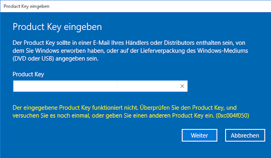 Windows 10 Upgrade auf Pro / Enterprise (Fehler 0xc004f050) » Hoerli.NET