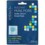 Andalou Naturals Clarifying Instant Pure Pore Hydro Serum Facial Mask Coconut Water 0.6 oz.