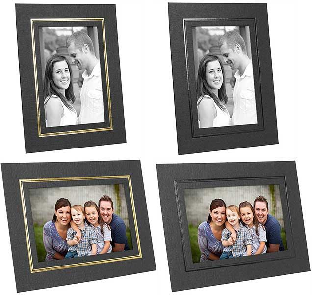 Cardboard Easel Picture Frames 5x7 Black Wgold Foil Border 25 Pack