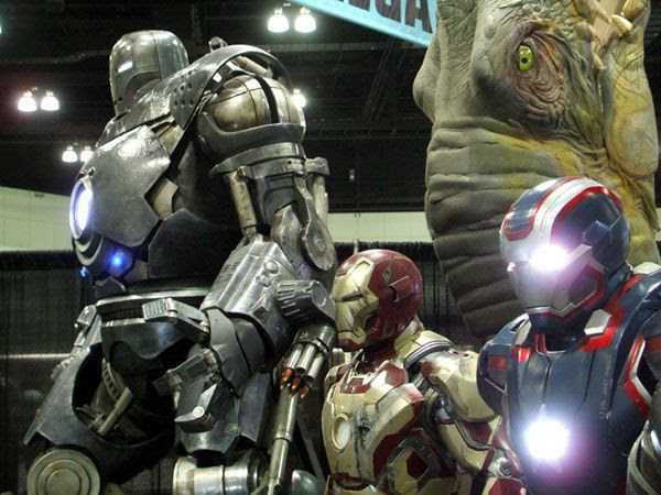 Iron Monger (from the first IRON MAN movie), the Mark 45 and Iron Patriot on display at Stan Lee's Comikaze Expo in downtown Los Angeles, on November 2, 2013.
