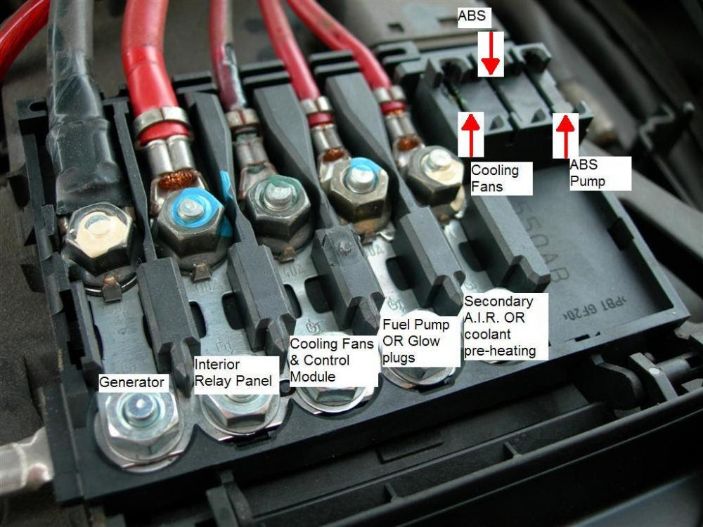 fuse box above battery box in engine compartment