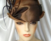 Brown Wool Victorian Hat, Steampunk Edwardian Hat, Mr. Selfridge and Downton Abbey Inspired