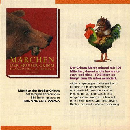 Nikolaus Heidelbach illusztrációja a Grimm-mesék borítóján: medve a magyar koronával, és kakason lovagló dudás sün a könyvből