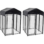 Lucky Dog Uptown 4 x 4 x 6 Foot Heavy Duty Outdoor Covered Dog Kennel (2 Pack) by VM Express