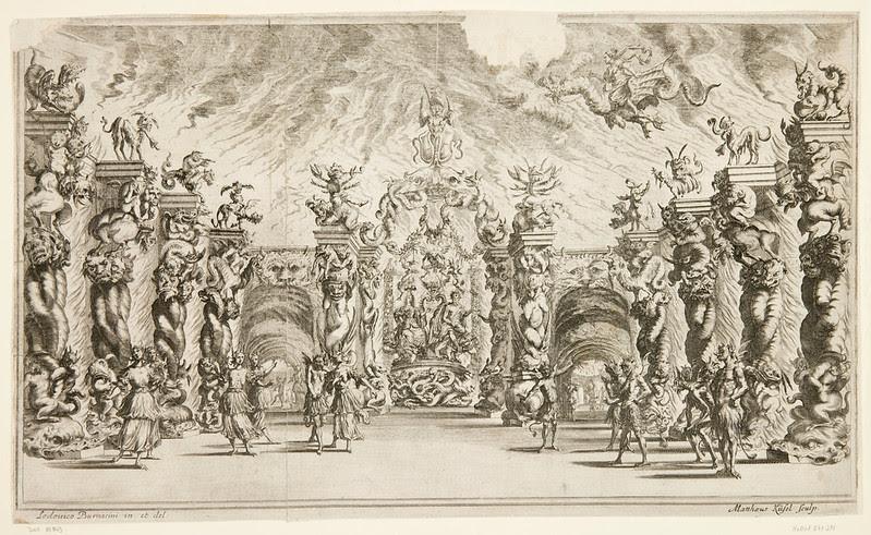 """Ludovico Ottavio Burnacini / Mathäus Küsel - Stage Design for the opera """"Il pomo d'oro ' (Underworld Scene) 1667"""