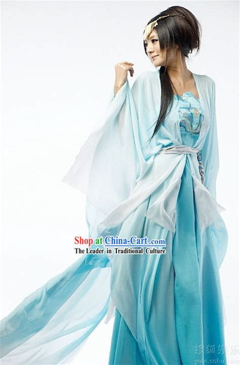 Ancient Chinese Blue Fairy Costume Complete Set
