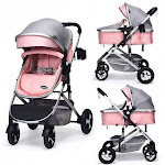 2 in 1 High Landscape Convertible Reversible Bassinet Pram-Pink