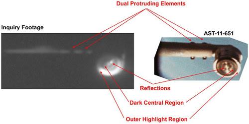 Apollo 16 image compared with EVA floodlight/boom