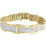 Diamond Bracelet Men's 10K Yellow Gold Round Cut Designer Pave Link 3.50 Tcw.