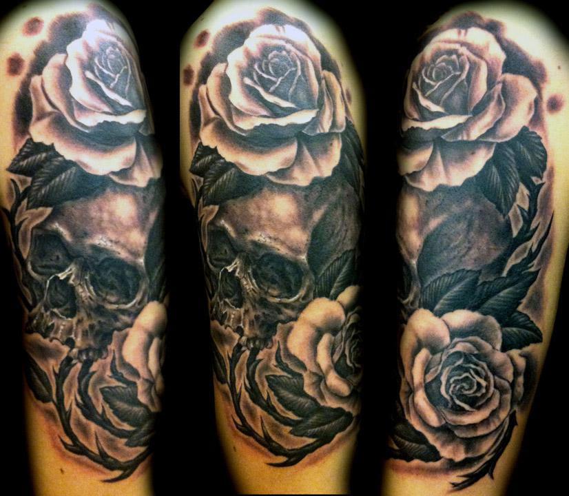Black And White Rose Tattoo Design