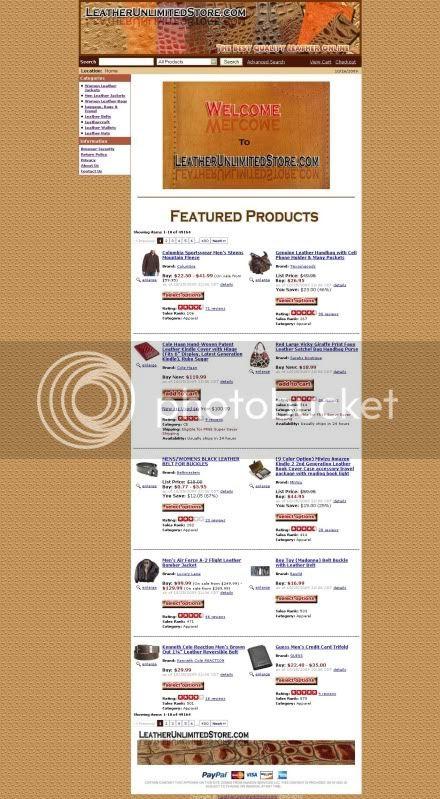 LeatherUnlimitedStore.com Template Design