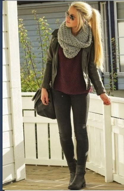 Fall Fashion: Long sleeve t-shirt under leather jacket with boots
