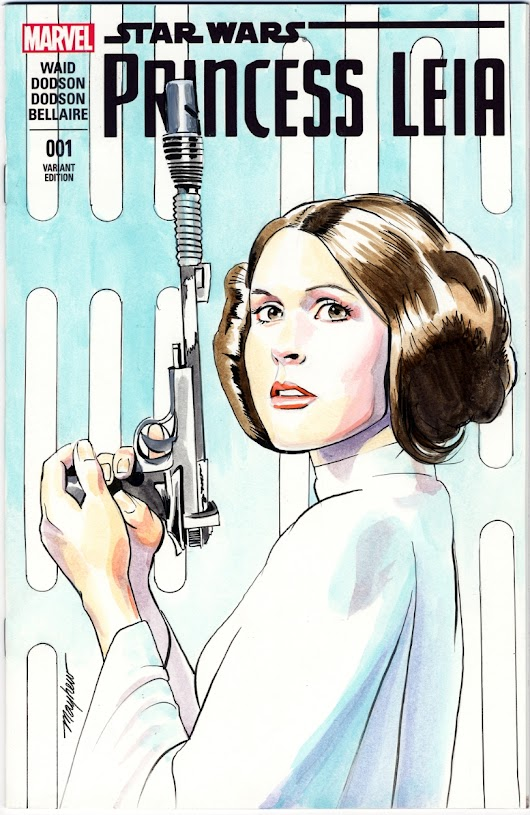 Mike Mayhew Original PRINCESS LEIA Blank Sketch Cover Bust in Color, in Mike Mayhew's Sketch Covers Comic Art Gallery Room