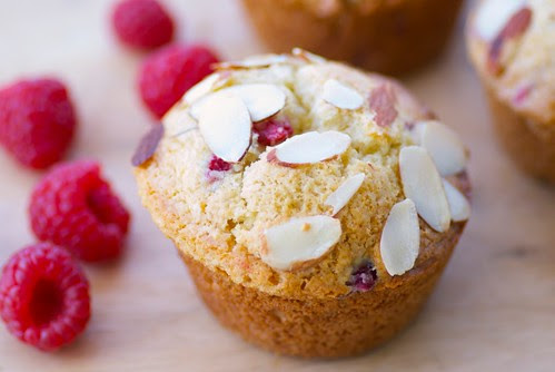 Lemony Raspberry Muffins with Ginger and Almonds