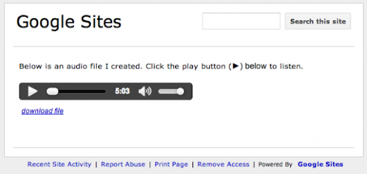 » Embed an HTML5 audio player in Google Sites