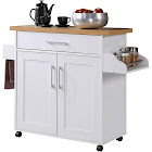 Hodedah Kitchen Island with Spice Rack Towel Rack & Drawer, White