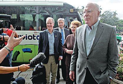 us senator patrick leahy talks to the media upon arriving