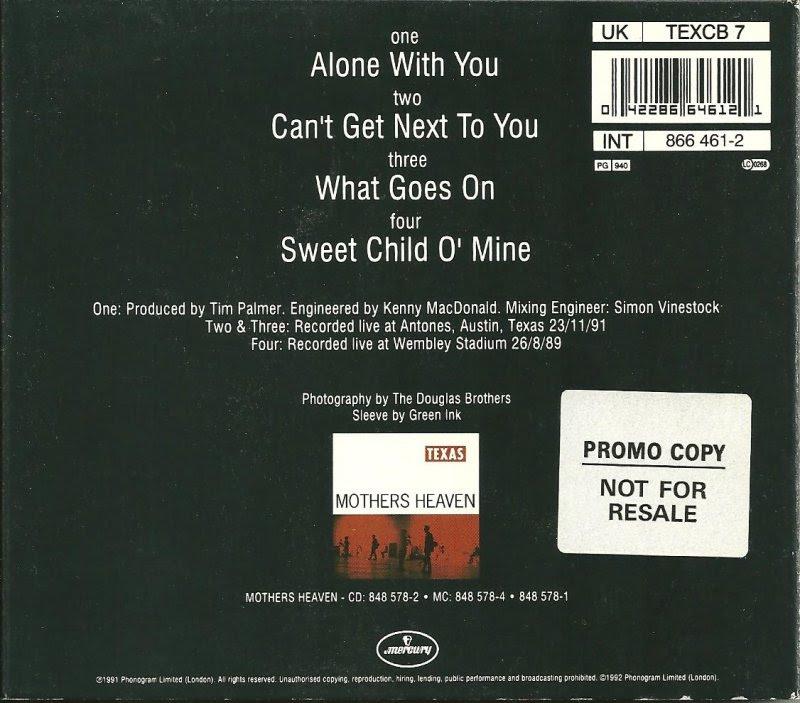 Cd Singles Texas Alone With You Live Mercury Uk Tex Cb 7