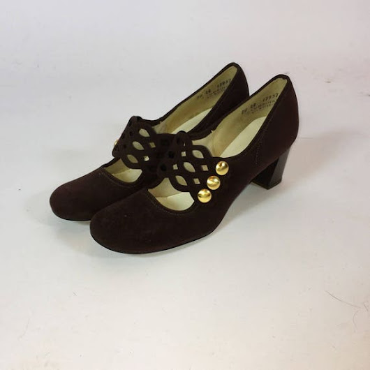 Vintage 60s Mod Mary Janes  Lattice Vamp  by RetroThreadzVintage