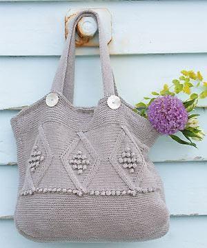 Diamond Patterned Bag Free Knitting Pattern | Bag, Purse, and Tote Free Knitting Patterns at http://intheloopknitting.com/bag-purse-and-tote-free-knitting-patterns/