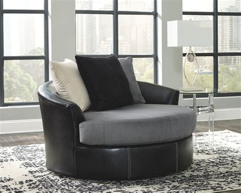 jacurso charcoal oversized swivel accent chair chair