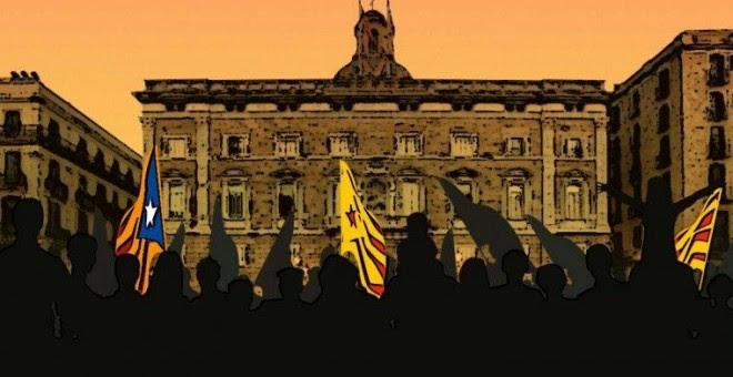 Cartel de la ANC para convocar a la celebración de la República en la plaça Sant Jaume.
