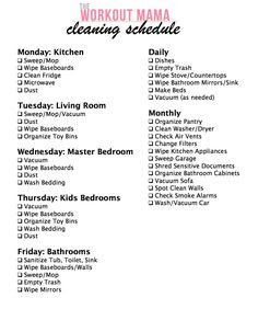 daily/weekly/monthly cleaning checklist. | printables | Pinterest ...