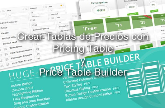 Crear Tablas de Precios con Price Table Builder y Pricing Table - Diseño gráfico y web en Asturias