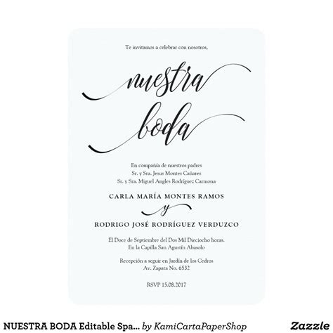 nuestra boda editable spanish wedding invitation zazzle