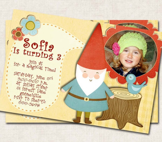 Gnome Birthday Party Invitation elf picnic by missbellaexpressions