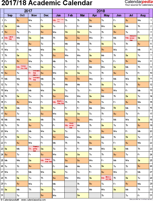 2018 academic calendar template vertical two months 2017 2018 academic calendar template yEMVLu