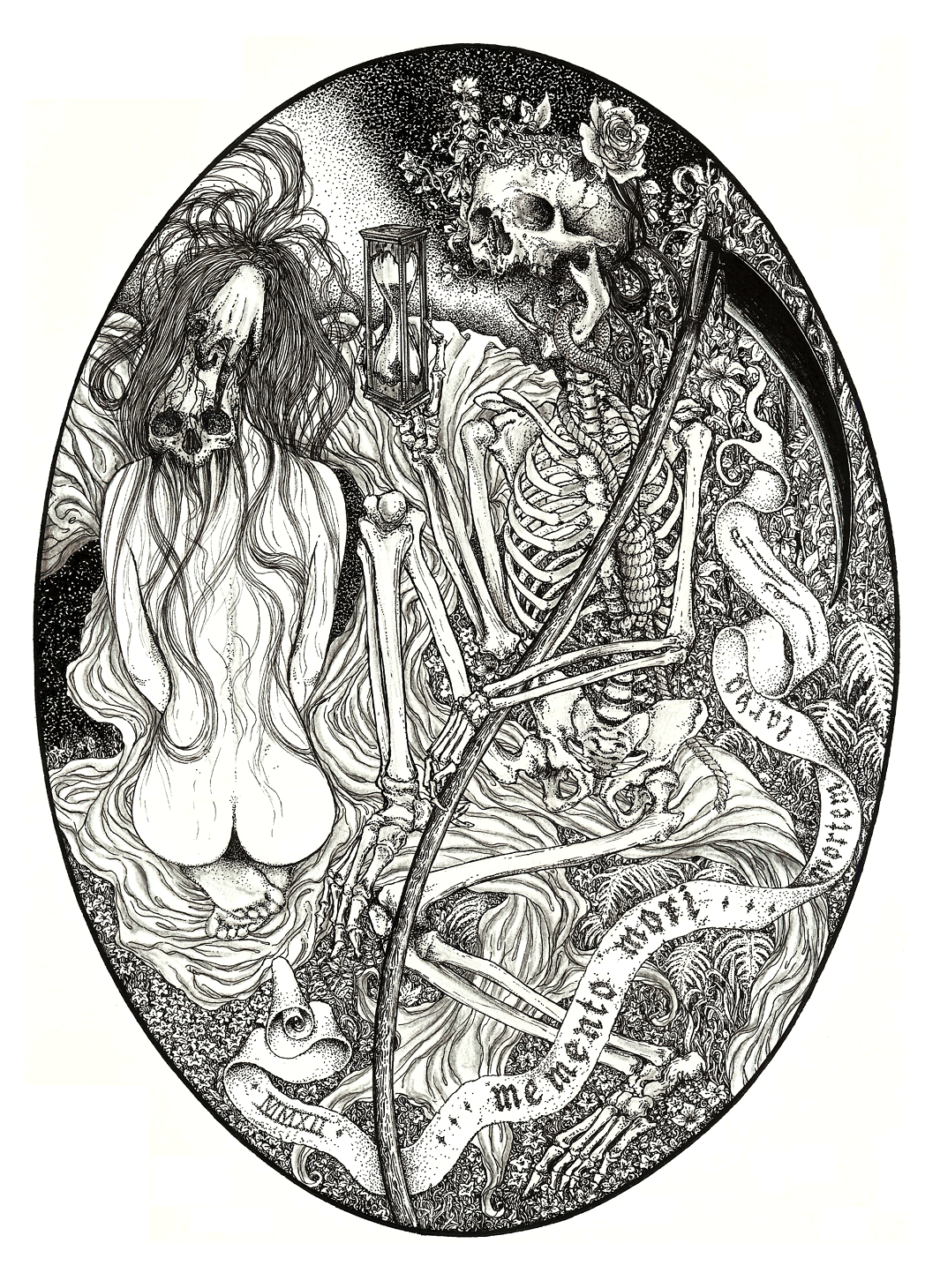 Elias Aquino - Memento Mori, 2012. China Ink and colour pencil on paper, 29,7 x 21,0 cm. (A4) facebook - society6 - blog - deviantart