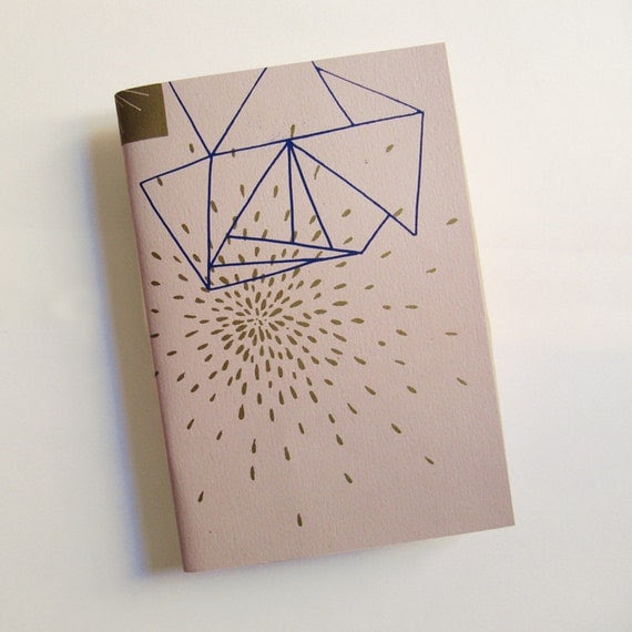 Screen printed handmade skin & blue color Notebook with 60 recycled paper pages