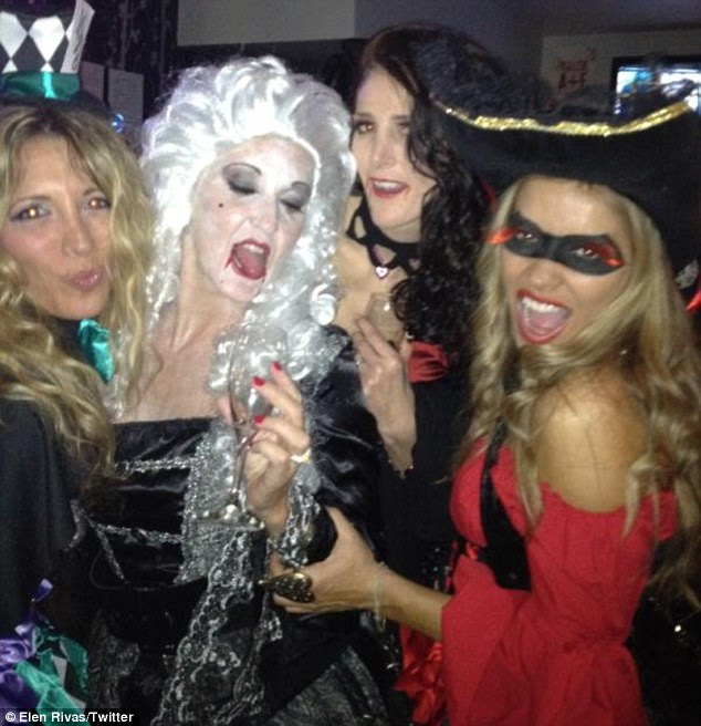 Girls' night out: Former WAG Elen Rivas (far right) dressed as a pirate