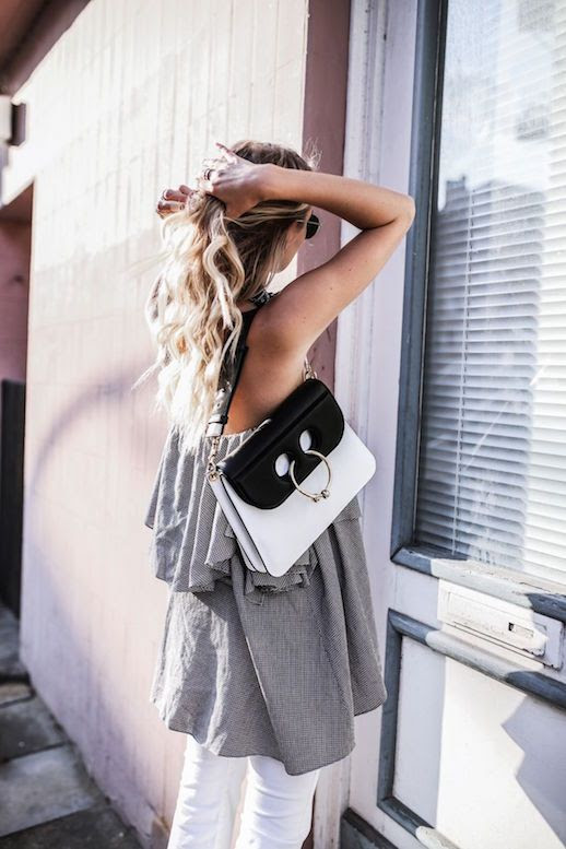Le Fashion Blog Grey Ruffled Top White Denim Via Ohh Couture