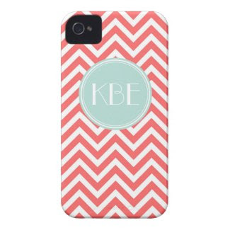 Coral & Mint Chevron Custom Monogram Case-Mate iPhone 4 Case