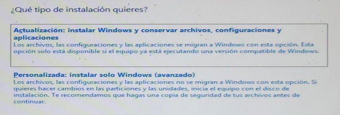 Seleccionar el tipo de instalación de Windows 8 a realizar