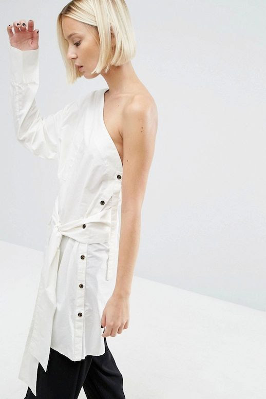 Le Fashion Blog Fall Style Blonde Short Hair Off White One Shoulder Tie Front Shirt With Buttons Black Wide Leg Trousers Via ASOS