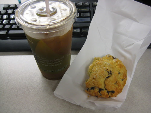 iced coffee, chocolate chip scone