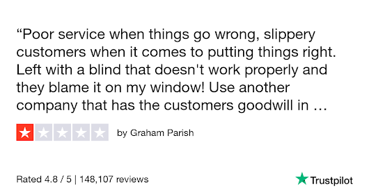 Graham Parish gave Blinds 2go 1 star. Check out the full review...