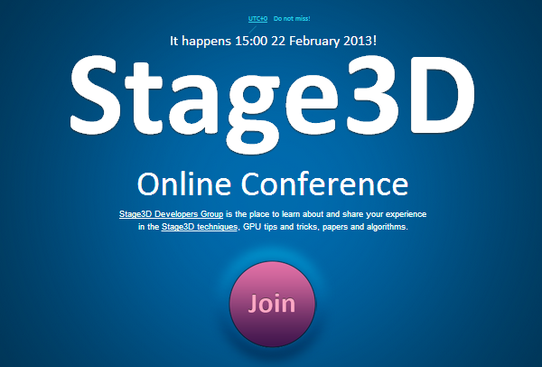 Online conference of Stage3D