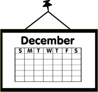 Black and white undated December calendar