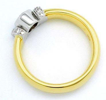 Foto 2, Neu! Designer-Brillant-Ring 18K Bicolor Luxus Portofrei, S8442