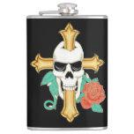 Skull Cross and Rose Hip Flasks