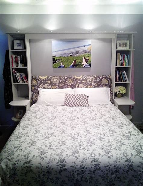 angled headboard shelving accent lights master bedroom