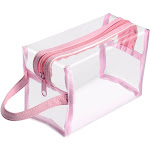 Zodaca Hanging Cosmetic Makeup Clear PVC Travel Wash Bag Holder Organizer Pouch - Light Pink
