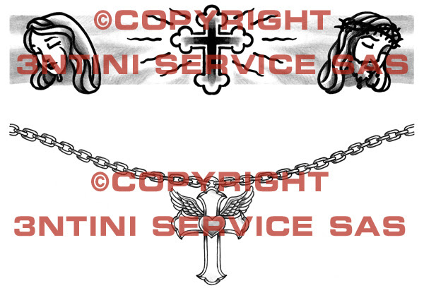 2 x Tattoo flashes - Jesus and Cross/Winged Cross Armbands