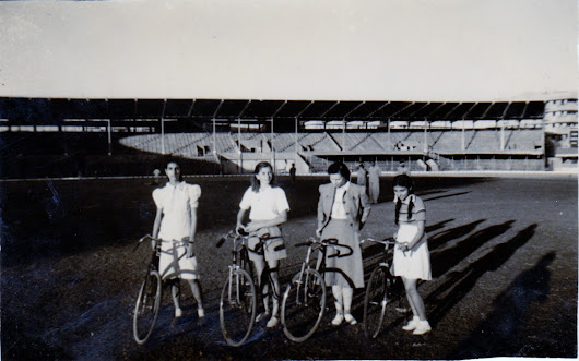 Muriel Wardley cycling in the 1942 Indian Olympic Games
