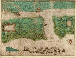This view of St. Augustine is the earliest engraving of any locality that is now in the United States. The English fleet lies at anchor, the infantry troops having disembarked and are attacking the Spanish settlement on May 28 and 29, 1586. To see more, visit the online exhibit of The Cultures and History of the Americas; the Jay I. Kislak Collection. Image Courtesy of the Library of Congress.