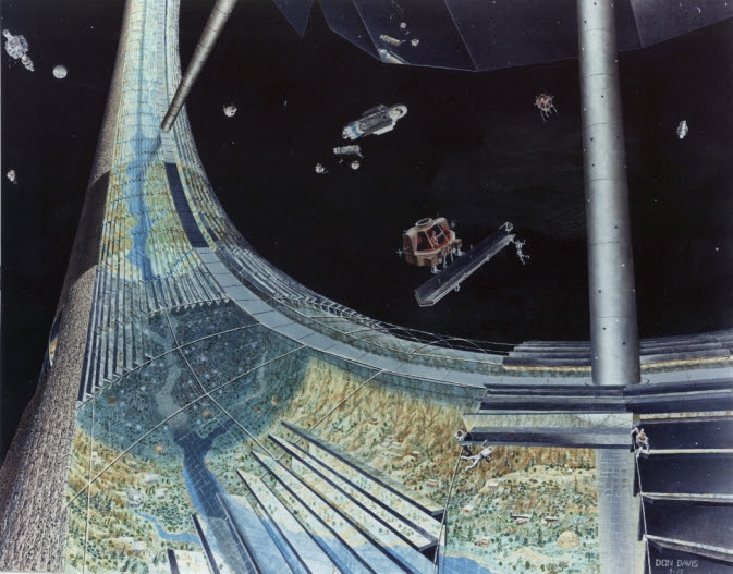 Part of the rim of a toroidal space colony, including nearby space vehicles.